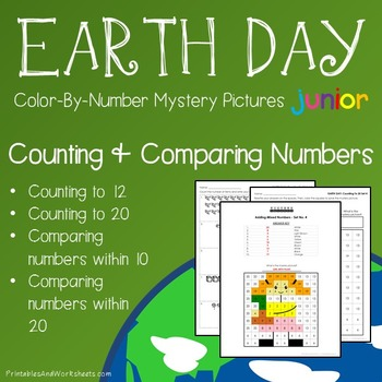 Earth Day Color-By-Number: Counting / Compare Numbers to 20 (K-2)