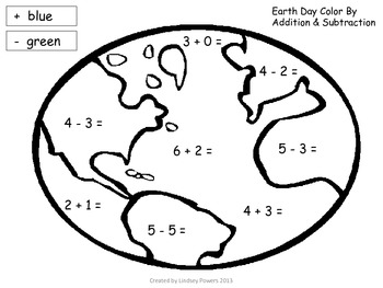 Earth Day Color by Addition & Subtraction Activity