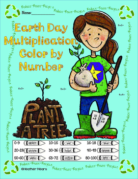 Earth Day Color by Number Multiplication