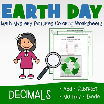Earth Day Coloring Worksheets - Decimals