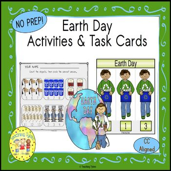 Earth Day Count and Clip Holiday Task Cards