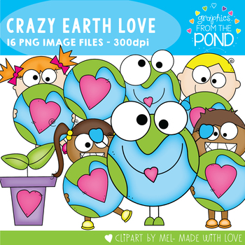 Earth Day - Crazy Earth Love Clipart