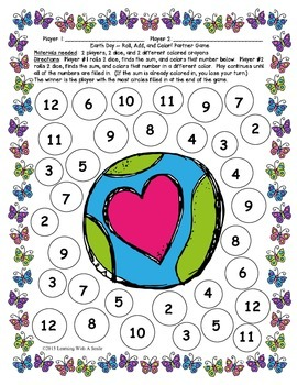 Earth Day FREEBIE ~ Roll, Add, & Color Partner Game ~ Math
