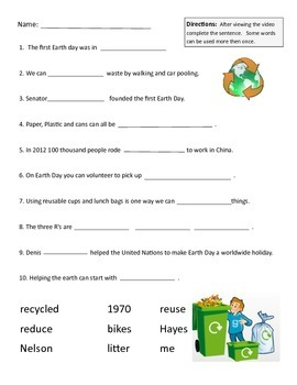 Earth Day Fill in the Blank