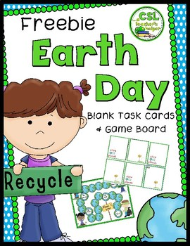 Free Earth Day Blank Task Cards and Game Board