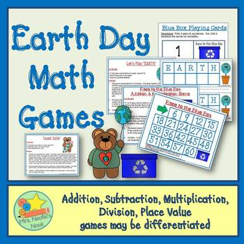 Earth Day Math Games - Basic Operations & Place Value
