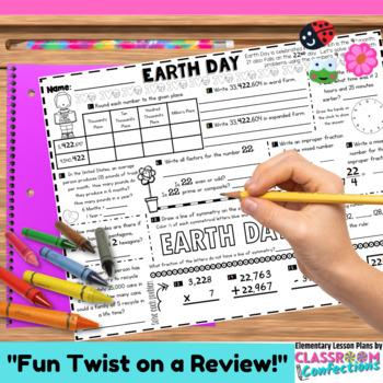 Earth Day Math: 4th Grade Math or 5th Grade Math Review