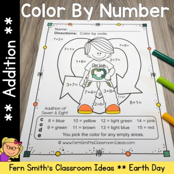 Color By Numbers Earth Day Addition