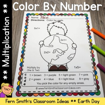 Earth Day Color By Numbers Earth Day Math Multiplication C