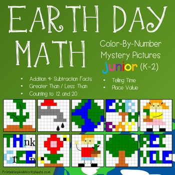 Earth Day Math Color-By-Number Bundle (K-2)