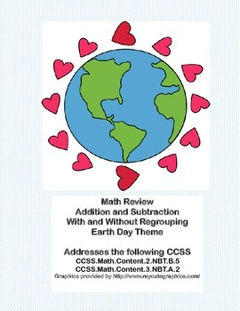 Earth Day Math Review -Addition and Subtraction With & Wit