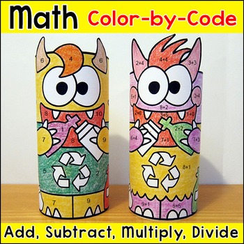 Earth Day Math - Recycle Monsters Color by Number 3D Characters