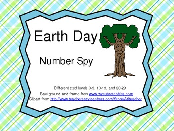 Earth Day Number Spy- 3 levels of differentiation