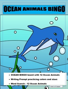 OCEAN Animals Bingo- Pre K-2 - Writing Prompt