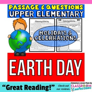 Earth Day: Passage and Questions: Reading Comprehension Activity