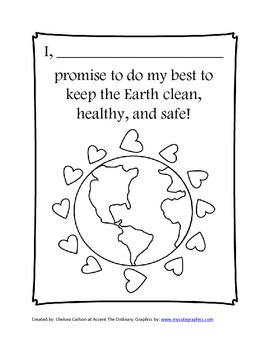 Earth Day Coloring Page and Pledge