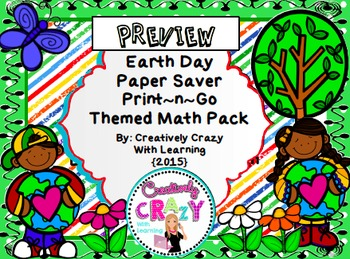 Earth Day Print & Go Math Activities for Assessments, Re-T