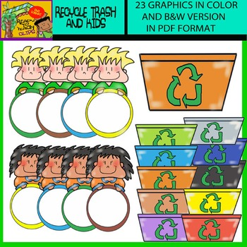 Earth Day Recycle Trash and Kids with Circles - Clip Art Set