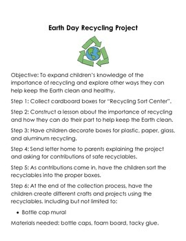 Earth Day Recycling Activity with Recycling Sort Center an