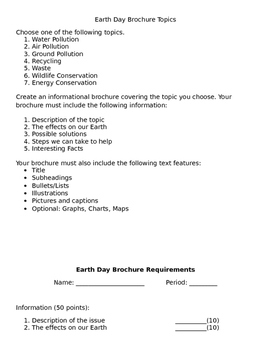 Earth Day Research Brochure