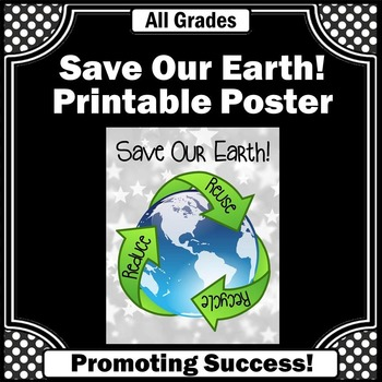 Earth Day Science Center Poster Reduce Reuse Recycle Class