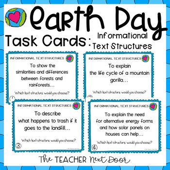 Earth Day: Task Cards for Informational Text Structures fo