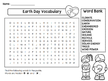 Earth Day Vocabulary Word Search