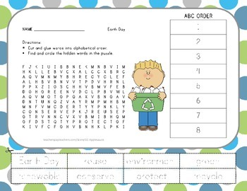 Earth Day - Vocabulary Word Search wih ABC Order