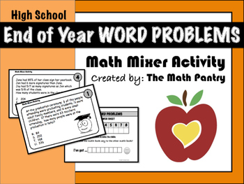 Earth Day Word Problems - Math Mixer Activity - High School