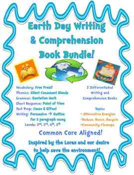 Earth Day Writing & Comprehension Bundle (3 Books at Diffe