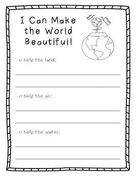 Earth Day Writing - I Can Make the World Beautiful