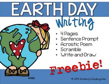 FREEBIE! Earth Day Writing Prompts. 4 Pages, No Prep!