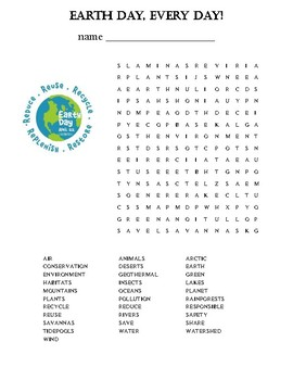 Earth Day Wrod Find Puzzle