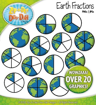 Earth Fractions Clipart — Over 20 Graphics!