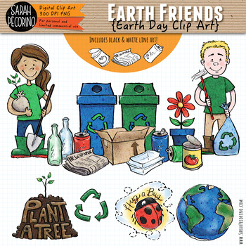 Earth Day Clip Art - Earth Friends - Recycling