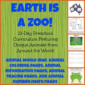 Earth Is a Zoo Preschool Activity Bundle! Science, S.S., F