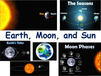 Earth, Moon, Sun Lesson and Flashcards - classroom unit, s