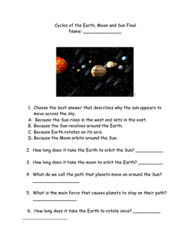 Earth's rotation/revolution/Solar System test/study guide