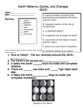 Earth Patterns Quiz