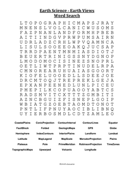 Earth Science Word Search  - Earth Views