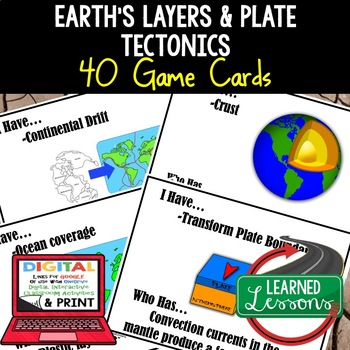 Earth Science Layers & Plate Tectonics 40 I Have, Who Has