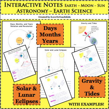 BUNDLE Earth Science Solar Lunar Eclipses Days Months Year