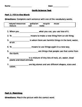 Earth Science Test - Grade K/1