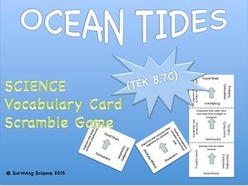 Earth Science Vocabulary Scramble : OCEAN TIDES (TX TEKS 8.7C)