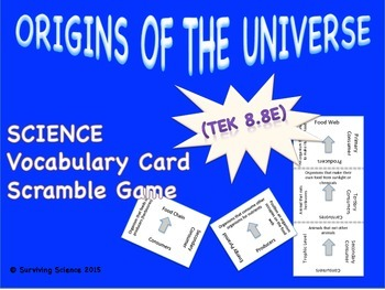 Earth Science Vocabulary Scramble : ORIGINS OF THE UNIVERS