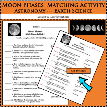 Earth Space Science Astronomy Moon Phases Matching Activit