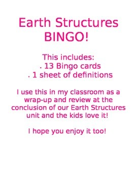 Earth Strutures BINGO