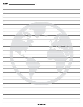 Earth Writing Lined Paper
