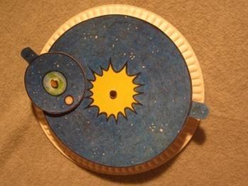 Earth and Moon Orbiting Paper Plate Wheel. Fun Craft Art