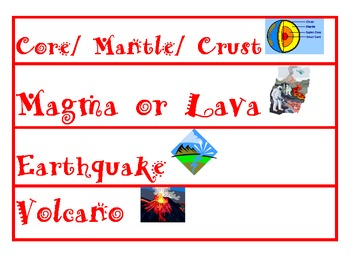 Earth and Volcano word wall cards